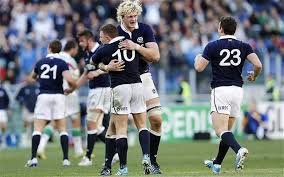Richie Gray  celebrates with match-winner Duncan Weir