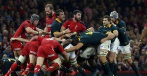 When packs collide: Wales and South Africa fight for the ball
