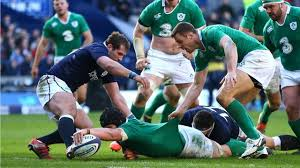 Sean O'Brien stretches to score Ireland's final try